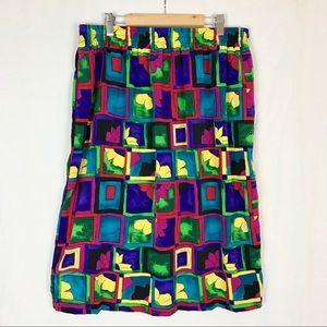 Vintage 80s Bright Floral Colorblock Skirt XL